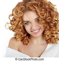 Red Wavy Hair. Healthy Curly Hair. Beauty Girl smiling...