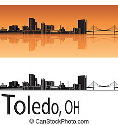 Toledo skyline in orange background in editable vector file