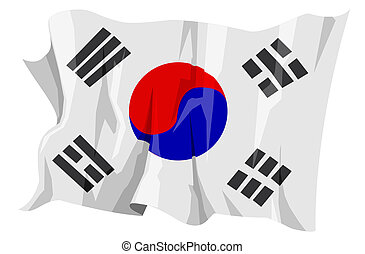 Flag series: South Korea - Computer generated illustration...