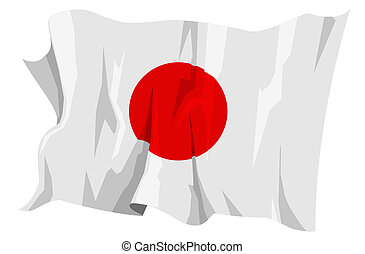 Flag series: Japan - Computer generated illustration of the...