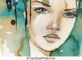 watercolor illustration showing the face of a pretty, young...