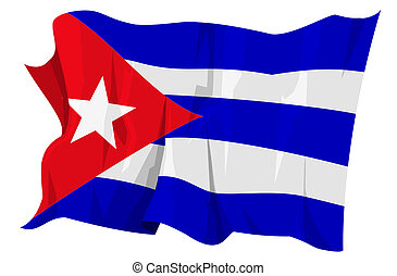 Flag series: Cuba - Computer generated illustration of the...