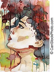 young girl's fancy. - watercolor illustration to depict the...