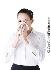 Woman with allergy or cold, isolated on white background