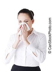 mulher, alergia, ou, gelado