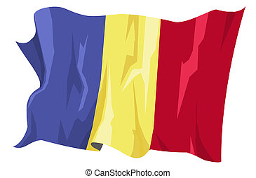 Flag series: Romania - Computer generated illustration of...