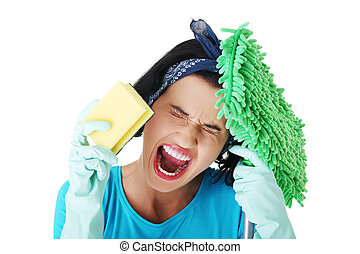 Tired frustrated and exhausted cleaning woman, isolated on...