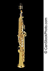 Saxo Soprano_7580 - Soprano Sax, wind instrument On a black...