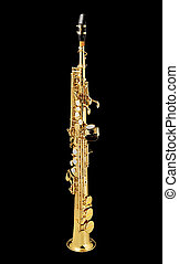 Saxo Soprano_7581 - Soprano Sax, wind instrument On a black...