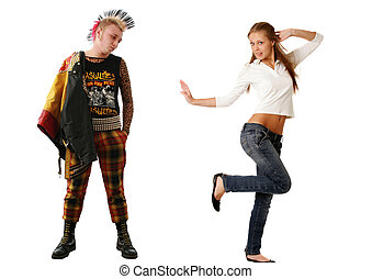 Punk and Blonde young woman