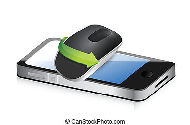 phone and Wireless computer mouse