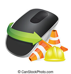 construction barrier and Wireless computer mouse isolated on...