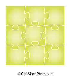 green puzzle board - Set of nine green blank isolated puzzle...