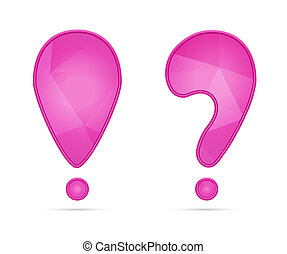 punctuation - Pink exclamation and question mark with subtle...