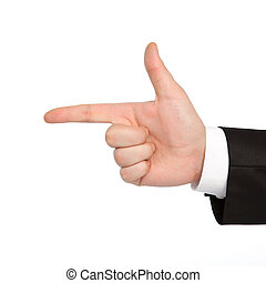 isolated hand of a businessman shows the gun