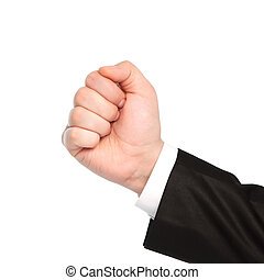 isolated businessman hand showing fist