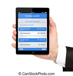 isolated businessman hand holding a tablet computer with mobile wallet and banking transaction on a screen