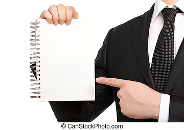 Isolated businessman in a suit and tie, holding a notebook