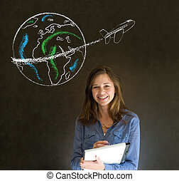 Woman with chalk globe and jet world travel - Business...