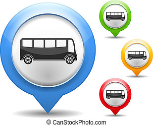 Bus Icon - Map marker with icon of a bus, vector eps10...