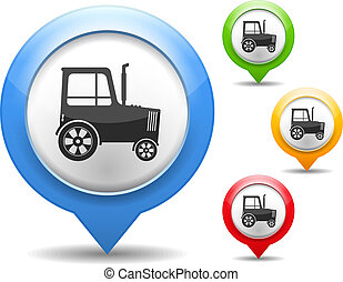 Tractor Icon - Map marker with icon of a tractor, vector...