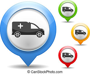Ambulance Icon - Map marker with icon of a ambulance, vector...