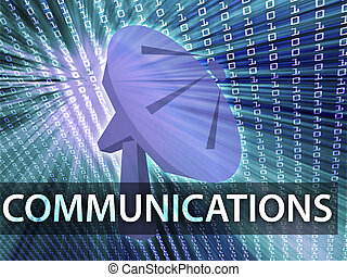 Communications illustration digital collage with satellite...
