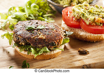 Homemade Organic Vegetarian Mushroom Burger with tomato and...
