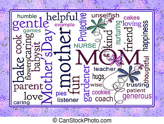 word art collage for Mothers Day - Colorful word art tribute...