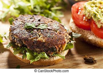 Homemade Organic Vegetarian Mushroom Burger with tomato and...