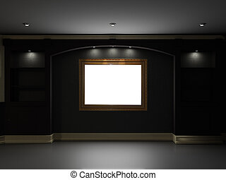 Home theater - Empty bookcase with lighting rectangle on the...