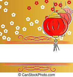 background with Chinese lanterns