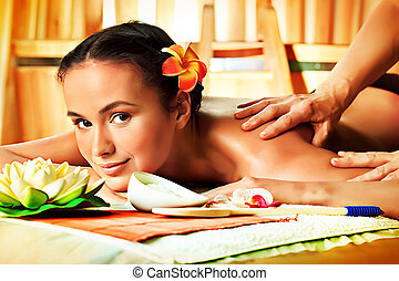 woman massage - Beautiful young woman taking spa treatments...