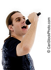 young male singing into microphone on an isolated white...