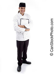 full body pose of handsome chef against white background