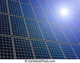 Solar Panels - Large array of solar panels with sunlight...