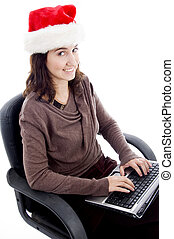 young female working on laptop