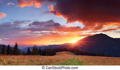 Beautiful sunset in the mountains - Panorama of the...