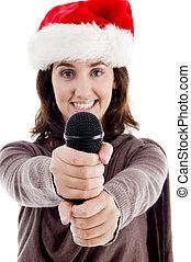 canto, sombrero, joven, hembra, navidad