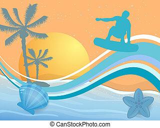 Surfer on summer background