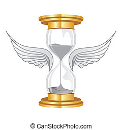 time flies - hourglass golden flies with wings