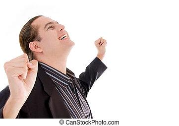 young man enjoying success