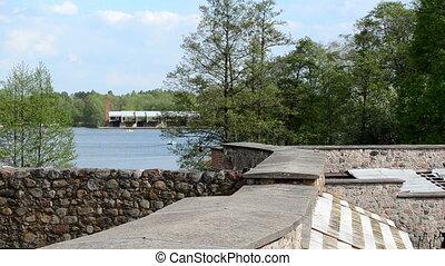 trakai tourist castle - Galve lake yard of ancient Trakai...