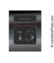 Metal calendar April 15. - Illustration with a metal...