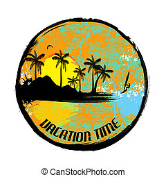 Vacation time grunge stamp on white background, vector...