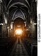 Sinister Gothic Cathedral - Interior View of a Sinister...
