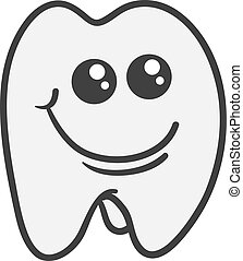 Tooth Character - Isolated tooth character smiling face