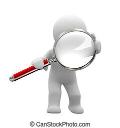 i found you - little human with big magnifier look for...