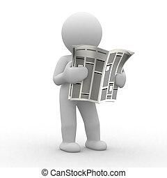 newspaper - 3d human read his news paper