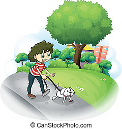 A woman and her puppy at the street - Illustration of a...